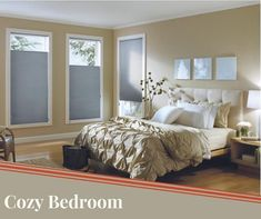 A cozy bedroom for this Tuesday morning. Diy Fabric Headboard, Tuesday Morning, Cozy Bedroom, Hgtv, Window Treatments, Red And Blue, Pillows, Lisa, Furniture