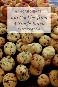 100 Cookies From One Single Batch Only 4 Ingredients - Recipes - Macarons Simple Cookie Dough Recipe, 100 Cookies Recipe, Cookie Dough Recipes, Easy Cookie Recipes, Yummy Cookies, Sweet Recipes, Baking Recipes, Cocoa Cookies, Cake Recipes