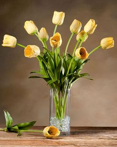 Tulip Silk Flower Stem - Yellow