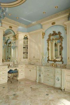 luxury home design « Haleh Design French Country Bedrooms, Country Bathrooms, Beautiful Bathrooms, Beautiful Mirrors, Beautiful Interiors, Bathroom Interior, My Dream Home, Luxury Homes, Villa