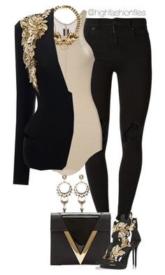 """Feeling Gold"" by highfashionfiles ❤ liked on Polyvore featuring (+) PEOPLE, Rick Owens, Givenchy, Alexander McQueen, Versus, Giuseppe Zanotti and Kendra Scott"