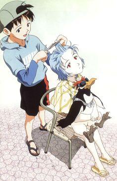 [Neon Genesis:Evangelion]Rei getting a haircut Neon Genesis Evangelion, Evangelion Tattoo, Evangelion Shinji, Me Anime, Manga Anime, Anime Art, Anime Girls, Rei Ayanami, Manga Illustration