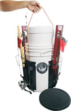 Keep your ice rods, tip-ups and bait neat, organized and secure on the ice. bucket comes equipped with a removable styrofoam lining for live bait and six Beaver Grips for keeping rods Ice Fishing Tip Ups, Ice Fishing Gear, Fishing Tips, Fishing Stuff, Fishing Rod Storage, Beaver Dam, Live Bait, Rod And Reel, Fishing Accessories
