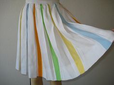 Vintage Skirt Pleated Colorful Spring Skirt by ZebratiniVintage, $75.00