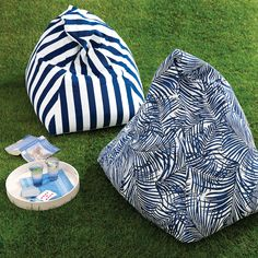 DIY beanbag chair - The beanbag makes a chic comeback when fashioned in vibrant outdoor fabrics.