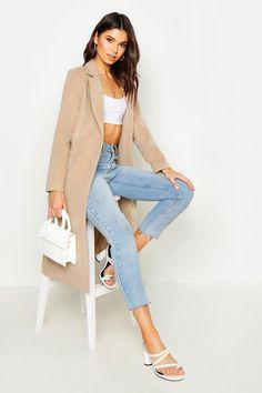 Tailored Coat | boohoo Coats For Women, Jackets For Women, Boyfriend Coat, Kimono, Tailored Coat, Plastic Raincoat, Camel Coat, Double Breasted Coat, Beige