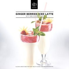 Ginger Berries Iced Latte with 1883 Ginger Syrup. #Tasty #Fruity