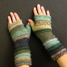 Fashion accessories Green knit fingerless gloves by dwarfs on Etsy