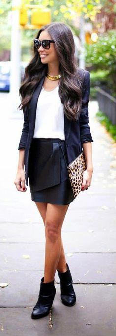 Daily New Fashion : Fall Outfit - leather mini skirt + blazer + bone newbury booties + leopard clutch.