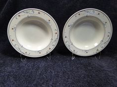 "END OF THE MONTH CLEARANCE SALE! TWO Mikasa Intaglio Annette CAC20 Soup Bowls Rimmed 9 3/8"" #Mikasa"