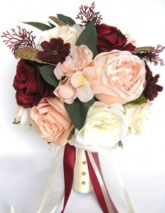 65 Super Ideas For Wedding Burgundy Gold Flowers Bridal Bouquets Silk Flower Bouquets, Bride Bouquets, Gold Flowers, Flower Bouquet Wedding, Floral Wedding, Fall Wedding, Autumn Wedding Flowers, Purple Bouquets, Bridal Bouquet Fall