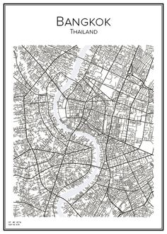 Bangkok. Thailand. Map. City print. Print. Affisch. Tavla. Tryck. Fashion Wall Art, City Illustration, Map Design, Cool Sketches, City Maps, Map Art, Art Pictures, City Print, Print Print