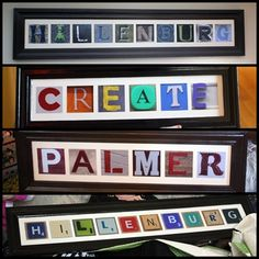 Some of the signs I made as Christmas gifts for family with the letter source I have previously pinned in my Create folder. I made the frames, backed them with thin plywood, painted the background, and then used mod-podge to put down the pictures. No glass and no photo mats. They were very well received which made me very happy!!