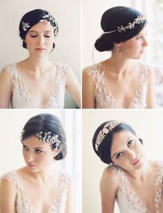Jeweled halo hair pieces