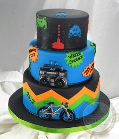 80's Music Chevron Space Invaders Birthday Cake