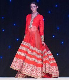 Manish Malhotra Red Gold Anarkali Lengha Indian Wedding