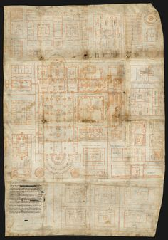 The oldest architectural plan of the West is this plan of the monastery of St. Gallen. #manuscript #architectural #parchment #ink #illumination #parchment