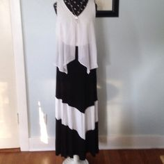 """Chevron Black/Cream Maxi This Long skirt is so lightweight and easy to wear and will look great on many figures. It's too long for me at 39"""" length. Made of 95% Rayon/4% Spandex for a beautiful drape. Machine wash cold; line dry. NWOT. Never worn. Skirts Maxi"""