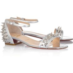 Christian Louboutin Druide studded mirrored-leather sandals ($498) ❤ liked on Polyvore featuring shoes, sandals, silver, mid-heel shoes, ankle tie sandals, christian louboutin shoes, studded sandals and ankle tie shoes
