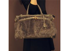 cdf59a3539  Gray  Fluffy Satchel  Handbag. Fashion9Shop