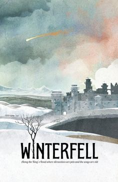 Game of Thrones Poster Winterfell Travel Poster  :::Print Details::: * This print measures 11 x 17 and is printed with high quality ink on