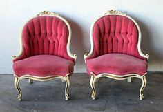 Beautiful Pair of Pink Velvet Tufted French Provincial Hollywood ...