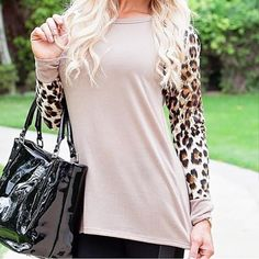 Get the look with our Taupe Pop Of Leopard Top - fashion. www.psiloveyoumoreboutique.com