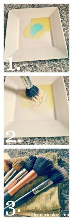 Clean your makeup brushes-1. Olive Oil  2. Dirty makeup brushes  3. Dish soap {any soap will do}  4. A plate  1. Mix equal parts olive oil & dish soap 2. Rub makeup brush in mixture on plate  3. Rinse with warm water & lay flat on towel to dry by francis