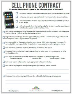 Cell Phone Contract (+ES) - Thinking about getting a cell phone for your child? Make sure to use this cell phone contract to explore appropriate conduct and behavior! Parenting Teens, Parenting Hacks, Rules For Kids, Chores For Kids By Age, Child Phone, Behaviour Chart, Behavior, Internet Safety, Future Mom
