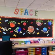 Space Planets Display, classroom display, class display, Space, planets, planet, Stars, moon, rocket, Early Years (EYFS), KS1 & KS2 Primary ...       hmm could use the planets as a way of tracking math fact memorization?