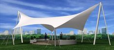 Cable-membrane-tensile-structure canopy. Tensile Structures, Canopy Architecture, Shade Structure, Master Plan, Sun Shade, Tent Camping, Solar Panels, Rooftop, My House