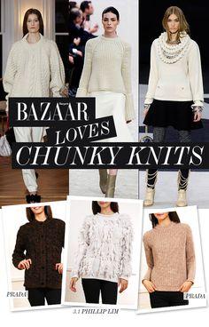 BAZAAR LOVES CHUNKY KNITS • Prada Chunky Cardigan http://shop-hers.com/products/17590 • 3.1 Phillip Lim Sweater http://shop-hers.com/products/17589 • Prada Tan Sweater http://shop-hers.com/products/17591