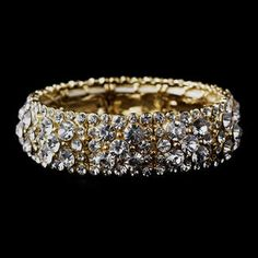 Sparkling Gold Clear Crystal Stretch Bracelet- Gorgeous accessory for every special occasion.