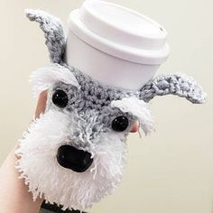 West Highland Terrier, Crochet Cup Cozy, Dog Crochet, Coffee Cozy Pattern, Animal Noses, Crochet Dog Patterns, Dog Nose, Dog Coffee, Bulldog Puppies