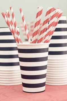 striped straws - striped cups. have I ever told anyone how much I love bold stripes?
