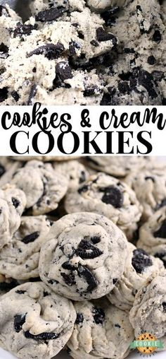 Cookies & Cream Cookies are made with pudding mix and Oreo cookies for a perfectly soft and chewy cookie that is sure to be a favorite! #cookies #oreo #baking #dessert #recipe from FAMILY COOKIE RECIPES
