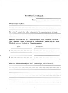 Nd Grade Book Report  Google Search  Homeschooling Ideas