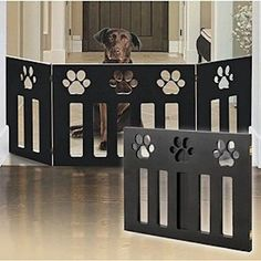Pet Gate Dog Safety Freestanding Wood Folding Barrier Fence Indoor Wide Cat Door