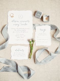 Dove gray ink and beautiful calligraphy http://www.stylemepretty.com/2015/08/14/17-all-white-invitation-suites-that-are-anything-but-vanilla/