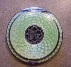Art Deco Guilloche Enamel Sterling Compact  (all ladies carried a powder compact in their purse...a shiny nose was not to be seen - ever!