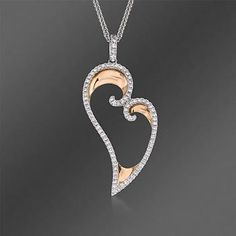 "Simon G. .50 ct. t.w. Diamond Heart Pendant Necklace In 18kt Two-Tone Gold. 17"""