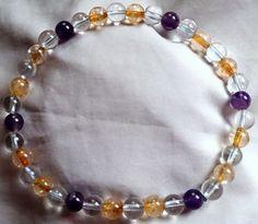 Bergkristall Citrin Amethyst Heilstein Perlen Armband