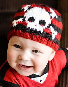 Free Knitting Pattern for Skull and Bones Baby Beanie - Hat for your little pirate with a skull and crossbones in intarsia on a striped background inspired by a pirate's bandana. Designed by Ashlee Prisbrey. Halloween Knitting Patterns, Baby Knitting Patterns, Baby Patterns, Knitting Projects, Knitting Ideas, Knitting For Kids, Loom Knitting, Free Knitting, Knitted Hats