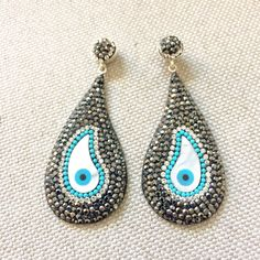 Fun & elegant ✨ marcasite evileye earrings with a touch of turquoise 💎