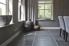 The manual finishing of these bluestone floor tiles give the bluestone floor an enormous amount of character. Flooring, Room Colors, Beautiful Interiors, Interior, House Flooring, Black Floor, Living Room Grey, Black Walls, Home Decor