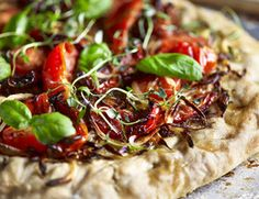 Oven dried Tomato and Basil Pizza