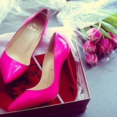 patent hot pink Louboutins and tulips.