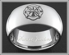 Tungsten Fireman Wedding Rings With Free Inside Engraving Sunsetjewelers Firefighter