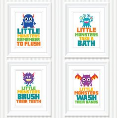 INSTANT DOWNLOAD Little Monsters Kids Bathroom Art - Home Decor, Nursery Art, Wedding, Anniversary Gift Digital Print (PDF)