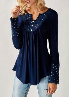Long Sleeve Ruffle Blouse Femme Polka Dot Oversized Tunic Tops For Women 2017 Summer Ladies Chiffon Office Shirts Blusas Mujer Trendy Tops For Women, Blouses For Women, Modelos Plus Size, Shirt Bluse, Tunic Shirt, Red Blouses, Fashion Blouses, Formal Blouses, Polka Dot Print